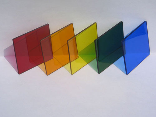Colored Glass Squares Set of 5
